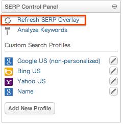 SERP control panel