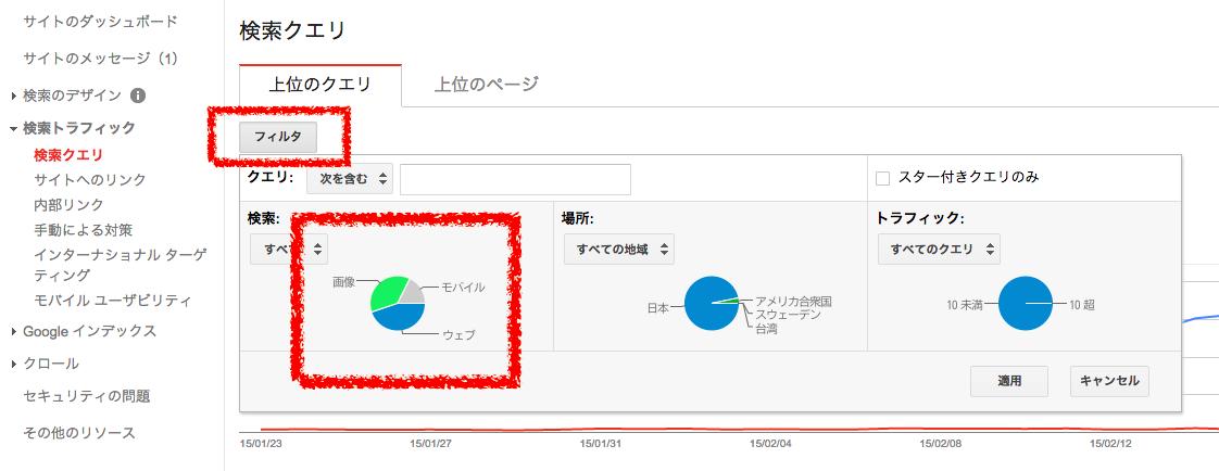 WebMasterToolで「フィルタ」をクリック